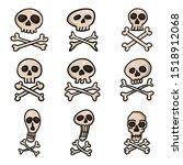 vector set of cartoon pirate... | Shutterstock .eps vector #1518912068