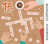 """Christmas Advent Calendar, Day 16. Spend evening time with friends, Play the game """"Scrabble"""". Top view process. Lifestyle Vector Illustration."""