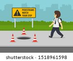 open manhole with red cones on... | Shutterstock .eps vector #1518961598