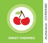 cherry icon  vector fruit... | Shutterstock .eps vector #1519005485