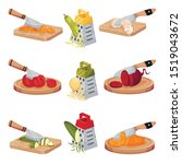 set of images with vegetables...   Shutterstock .eps vector #1519043672