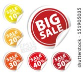 vector  big sale tags with sale ... | Shutterstock .eps vector #151905035