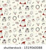 cute christmas doodles seamless ... | Shutterstock .eps vector #1519060088