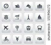 travel icons on gray background. | Shutterstock .eps vector #151906172