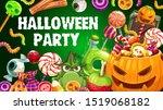 halloween party pumpkin and... | Shutterstock .eps vector #1519068182