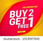 sale banner modern red. buy 2... | Shutterstock .eps vector #1519097045