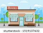 Bookstore, bookstore building against the backdrop of the cityscape. Bookstore with a bench and trees. Vector illustration, vector.
