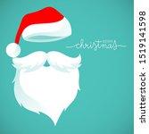 santa claus hat and beard... | Shutterstock .eps vector #1519141598