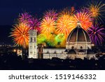 Stock photo fireworks in firenze italia florence italy during new year s celebration 1519146332