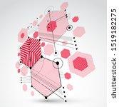 bauhaus art  3d modular red... | Shutterstock .eps vector #1519182275