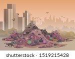 city landfill flat vector... | Shutterstock .eps vector #1519215428