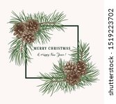 christmas holiday frame with... | Shutterstock .eps vector #1519223702