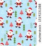 cute santa seamless pattern... | Shutterstock .eps vector #1519231388