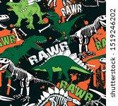 dinosaur skeleton seamless... | Shutterstock .eps vector #1519246202