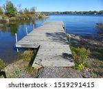 A dock giving out onto Ramsey Lake, Sudbury, Ontario