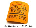 Special event ticket closeup ...
