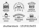 vector burger logo set. vintage ... | Shutterstock .eps vector #1519315655
