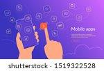 human hand holding smartphone... | Shutterstock .eps vector #1519322528