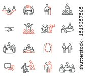 vector set of linear icons... | Shutterstock .eps vector #1519357565