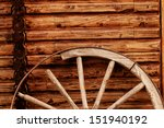 Old Wagon Wheel Side By Wooden...