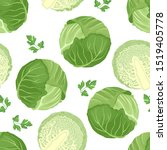 cabbage seamless pattern on... | Shutterstock .eps vector #1519405778