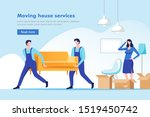 moving house service. woman... | Shutterstock .eps vector #1519450742