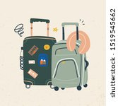 suitcases with wheels. luggage...   Shutterstock .eps vector #1519545662
