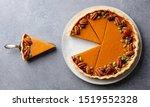 Pumpkin Pie On A Plate. Grey...