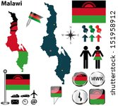 vector of malawi set with... | Shutterstock .eps vector #151958912