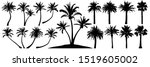 palm trees silhouette. coconut... | Shutterstock .eps vector #1519605002
