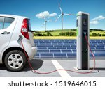 Electric Car On Charging Spot...