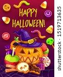 halloween pumpkins with witch... | Shutterstock .eps vector #1519713635