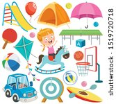 collection of colorful toys and ... | Shutterstock .eps vector #1519720718