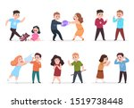 angry kids. bad boys and girls... | Shutterstock . vector #1519738448