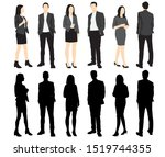 silhouettes of men and women... | Shutterstock .eps vector #1519744355