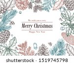 christmas vintage invitation....   Shutterstock . vector #1519745798