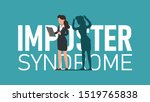 imposter syndrome. woman... | Shutterstock .eps vector #1519765838