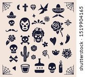 vintage day of the dead... | Shutterstock .eps vector #1519904165