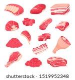 meat fresh steaks cartoon set.... | Shutterstock .eps vector #1519952348