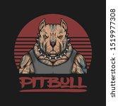 pitbull gangster  tattoo vector ... | Shutterstock .eps vector #1519977308