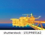 oil derrick in sea for... | Shutterstock .eps vector #1519985162