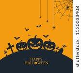 halloween pumpkins bat... | Shutterstock .eps vector #1520033408