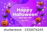 happy halloween sale banner or... | Shutterstock .eps vector #1520076245