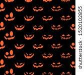 helloween pumkin face seamless... | Shutterstock .eps vector #1520102855