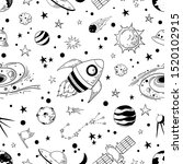 seamless doodle space pattern.... | Shutterstock . vector #1520102915