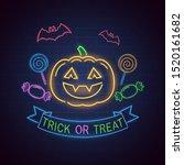 trick or treat  neon sign.... | Shutterstock .eps vector #1520161682