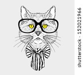 Fashion Portrait of Hipster Cat in Big Glasses and Striped Bow - stock vector