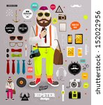 hipster elements and icons set...
