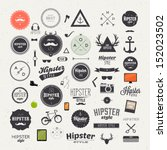 Hipster style infographics elements and icons set for retro design. With bicycle, phone, sunglasses, mustache, bow, anchors, apple and camera. Vector illustration.