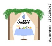 sukkah with table  traditional... | Shutterstock .eps vector #1520256062